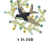 S is for Sparrow- Archival art print