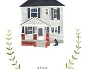 RESERVED FOR APRIL: Custom illustrated house portrait