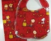 Peanuts Chenille bib and Burp Cloth