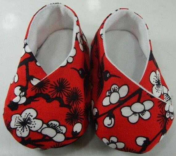 Baby Kimono Shoes - Asian Flower Blossom