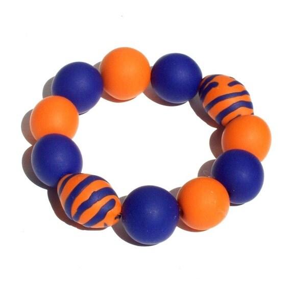 Gameday Bracelet w/ Orange and Blue Oversized Beads FREE SHIPPING