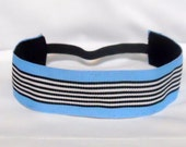 Non-Slip Thick Light Blue with Black and White Stripes Headband