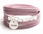 On SALE, Soft Pink/lavender leather wrap, name jewelry, flat sewn nappa leather, sterling silver, custom size