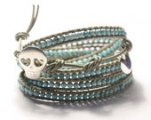 SALE, Leather wrap bracelet, FREE Shipping, Tiny turquoise beads, personalized tag, sterling silver Skull button