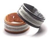 Sami style, lapland bracelet, Leather cuff, multi braid, custom colors, custom size