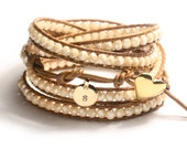 Champagne luster crystal wrap bracelet, Vermeil button, handstamped charm, Made to Order