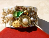 Creme and Gold, Vintage and Repurposed Jewelry Cuff