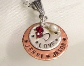 Mother's Personalized Name Pendant Only With LOVE - Hand Stamped - Sterling Silver and Copper