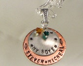 """HandStamped Mother's Necklace - """"My Boys""""  Personalized Pendant  with Children's Names- Mixed Metal"""