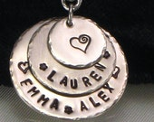 Hand Stamped Mom Necklace - Personalized with Family Kids Names - Three Silver Layered Discs with Kids Names