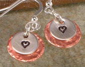 Hand Stamped Dangle  Earrings - Tiny Heart on Sterling Silver and Copper Layered Discs - Personalized Jewelry