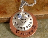 Hand Stamped Mother's Necklace - Personalized Name Pendant with Kids Names and Choice of Design - Sterling Silver and Copper
