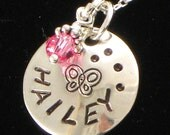 Personalized Girl's Necklace - One Name Hand Stamped with Butterfly on Domed Silver Dics with Your Choice of Design and Birth Crystal
