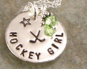 Hand Stamped Hockey Girl Necklace with Hockey Sticks -  Personalized Sports Jewelry - Sterling Silver Disc -  Choice of Birth Crystal
