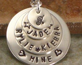Hand Stamped Mother's Monogrammed Jewelry - Personalized Sterling Silver Layered Discs with Four or Five Kid's Names - Jewelry for Mom