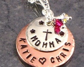 Momma Cross Necklace - Personalized Hand Stamped Sterling Silver and Copper Discs with Kids Names and A Cross - For Mom - Jewelry for Mother