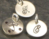 Add a Hand Stamped  charm -  Monogrammed or Design  - 1/2 Inch Sterling Silver Disc - Domed, Cupped or Flat Style