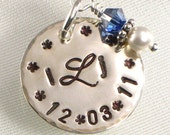 Bridal Flower Bouquet Charm - 3 Hand Stamped Initials with Wedding Date - For the Bride
