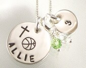 Girl's Basketball Necklace with Cross - Personalized  Charm with Name, Team Number - Sports Jewelry -  Choose Your Sport and  Team Colors