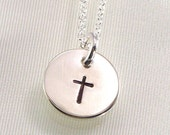 Cross Necklace - Hand Stamped Sterling Silver Pendant - Great for First Communion, Baptism, or Confirmation - Girls and Boys Cross Necklace