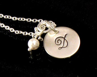 Personalized Monogrammed Initial Pearl Necklace - Hand Stamped - With Choice of Birth Crystal or Pearl - For Bridesmaids and Flower Girls