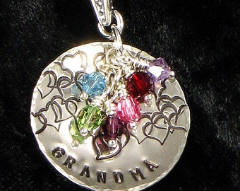 Personalized Grandma Necklace - Grand kids Birth Crystals -  Hand Stamped Sterling Silver Pendant with Hearts - Jewelry for Grandmother