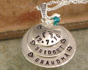 Personalized Grandma Necklace - Hand Stamped First Grandchild's Name - Date of Birth - Great for Grandmother, Grammy or Nana
