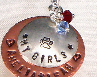 Hand Stamped Pet Lover Necklace - Personalized Paw Print Pendant - Pet's Name - My Girls - Two Layered Discs - Sterling Silver and Copper