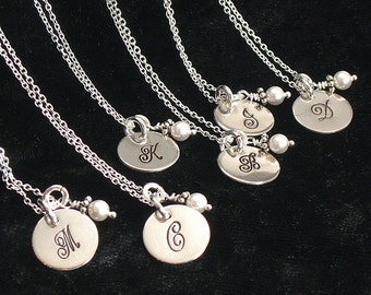 Seven Monogrammed Bridesmaids Necklaces - Hand Stamped Wedding Party Jewelry - Sterling Silver - Choice of Pearl or Birthday Crystall