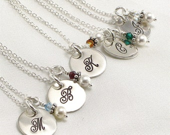 Five Bridesmaids Personalized Necklaces - (5) Monogrammed Initial - Hand Stamped - Wedding Jewelry - Pearl and Crystal Charm - Bridal Party