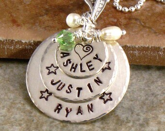 Hand Stamped Mothers Necklace - Family Names  Pendant - Sterling Silver Layered Discs with Childrens' Names - Jewelry for Mom