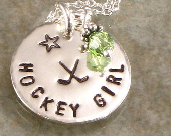 Hand Stamped Hockey Girl Necklace with Hockey Sticks -  Personalized Sports Jewelry - Hockey Team Sterling Silver Disc -  Choice Crystal -