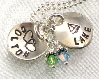 Mothers Personalized Charm Necklace - Two Kids Names on  Two Small  Domed Discs with Your Choice of Designs and Birth Crystals - For Mom
