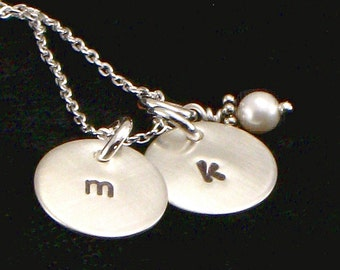 Monogrammed Charm Necklace - Two Hand Stamped Lower Case Charm Discs Single Initial on Each - Sterling Silver Disc with Single Pearl Charm