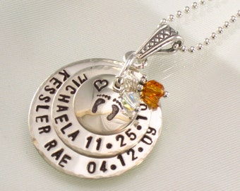 Hand Stamped Mother's Necklace - Personalized with Two Kids Names and Birth Dates - Baby feet on Top Disc - Baby's Footprints for Mom