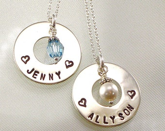 Personalized Girls Name Necklace - Eternity Circle - Hand Stamped Jewelry - Sterling Silver - Bridesmaids Gifts - Pearl or Crystal Charm