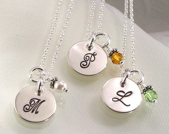 Three Monogrammed Bridesmaids Necklaces - Personalized with Initial on Sterling Silver Charm - Bridal Party Jewelry - Christmas gift for 3