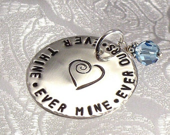 Bridal  Flower Bouquet Charm - Something Blue Bouquet Charm Pendant for The Bride - Hand Stamped Disc with Heart and a Quote of Choice