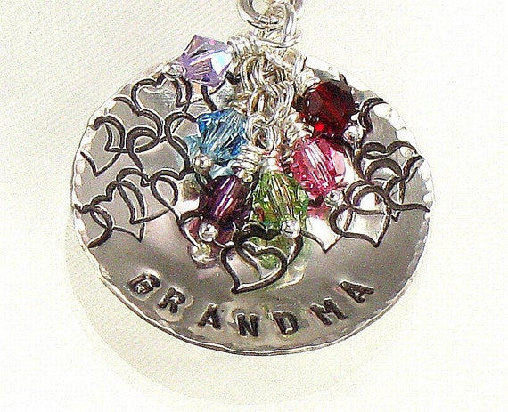 Personalized Hand Stamped Grandma Pendant Only - NO CHAIN is Included -  Sterling Silver Domed Disc with Birth Crystal  Charms