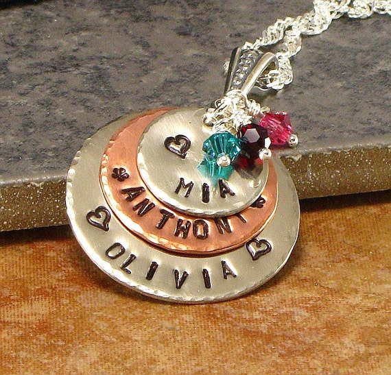 Personalized Mother's Name Necklace - Hand Stamped Kids Names one Multi-Metal Layered Mommy Jewelry with Children's Names - Gift for Wife