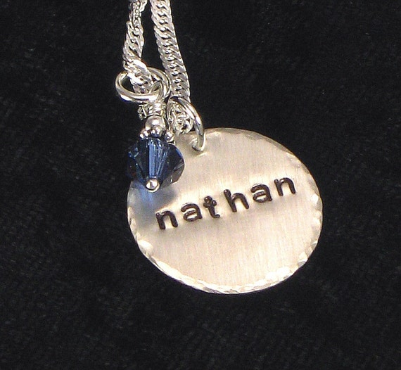 Personalized Name Charm Necklace - Hand Stamped One Name on Sterling Silver Disc and Birthday Crystal