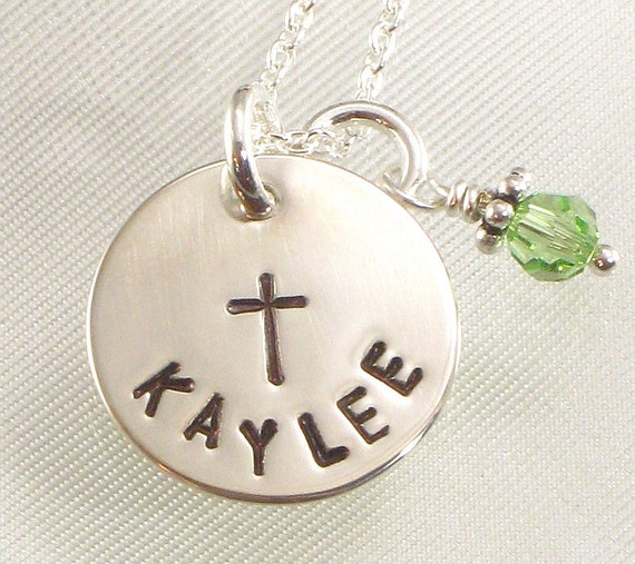 Personalized Girl's Cross Necklace - Hand Stamped Cross and Name on Silver Disc , Confirmation Gift for Girls,  First Communion, Flower Girl