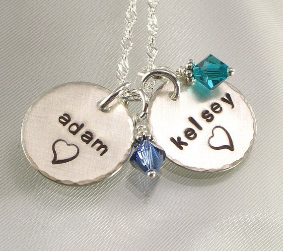 Personalized Mother's Charm Necklace - Two Names Hand Stamped  with Your Choice of Design - Birth Crystal Charms