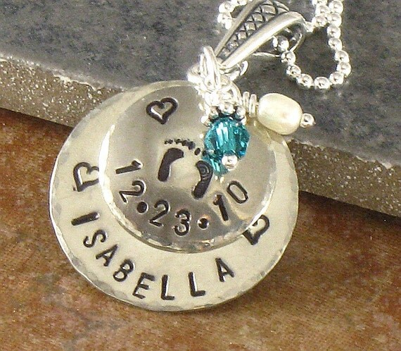 Hand Stamped New Mother Necklace - Baby Feet -  Newborn Baby's Name and Birth Date - Sterling Silver Double Disc