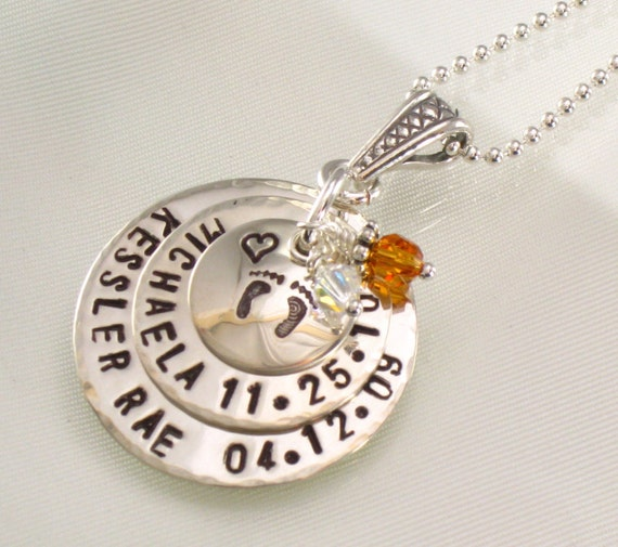 Hand Stamped Mother's Name Necklace - Two Names with Birth Dates - Your Choice of Design on Top Disc - for Mom