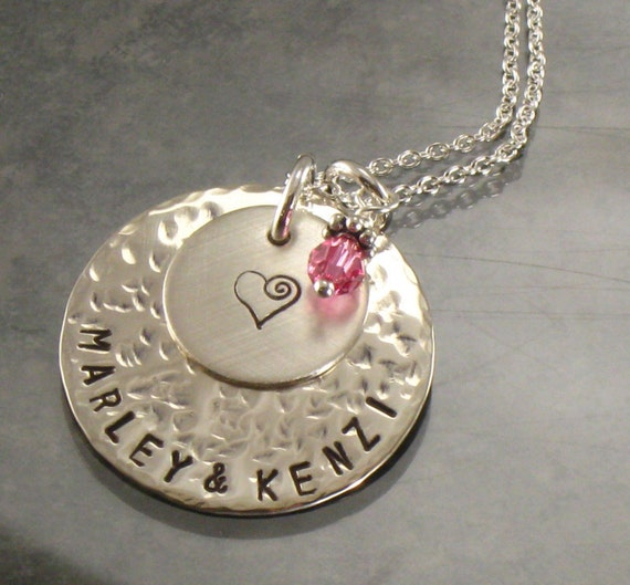 Personalized Mother's Necklace with Kids Names and Heart