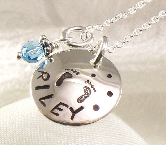 Personalized One Name Necklace - Hand Stamped with Baby Feet on the Pendant and a Birth Crystal Charm - Newborn Baby Jewelry