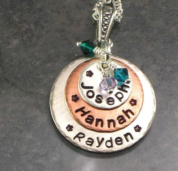 Mother's Necklace - Personalized with Family Kids Names - Hand Stamped Multi-Metal Stacked Pendant - Jewelry for Mom for Mothers Day