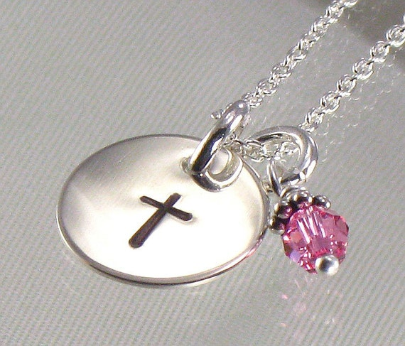 Cross Necklace for Girls - Hand Stamped  Silver Disc with Birth Crystal Charm-Great for First Communion, Baptism, Confirmation, Easter