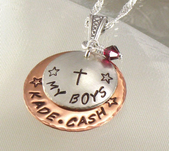 """Personalized Mother's Necklace - Hand Stamped """"My Boys""""  - Kids Names with Cross - Silver and Copper Pendant - Jewelry for Mom - Christmas"""